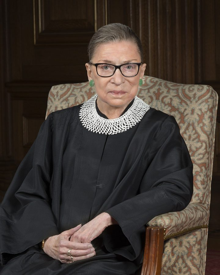 A picture of Ruth Bader Ginsburg in her judicial robe.