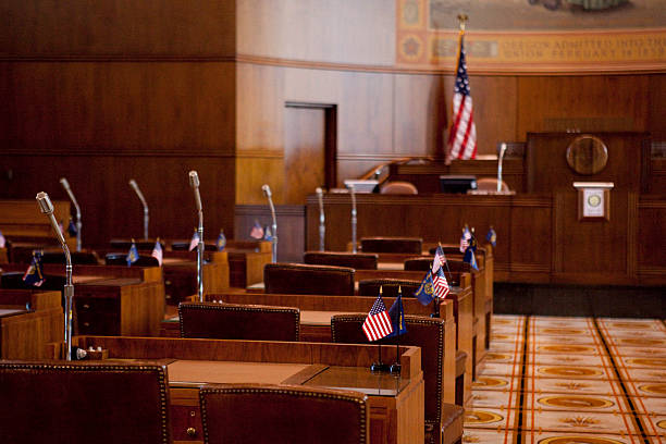 State Senate Chamber of the Oregon state capitol building in Salem, Oregon.