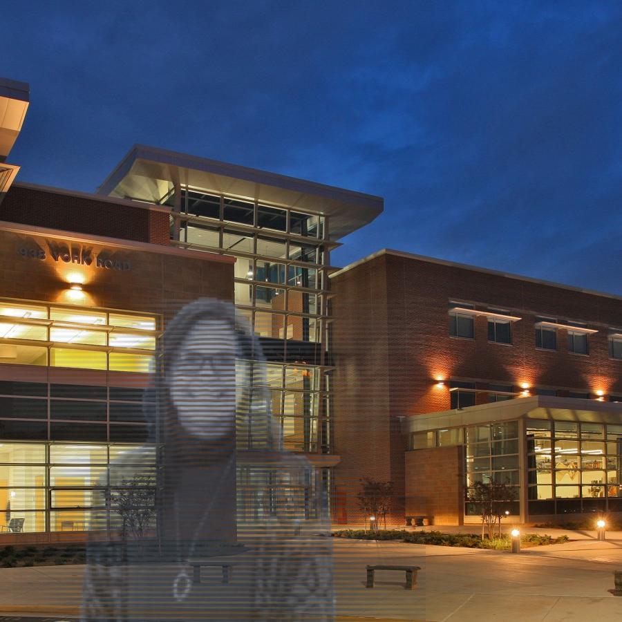 A candid photo of Mrs. Steele outside of Carver Center