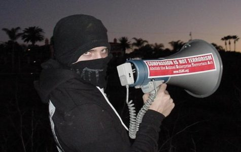 Protestor with megaphone.