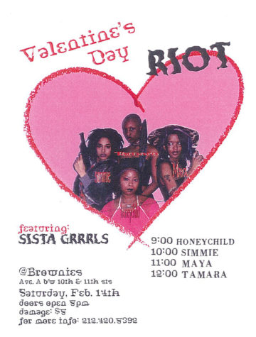 Flyer for the first Sista Grrrl Riot. Photo by Honeychild Coleman, 1997.